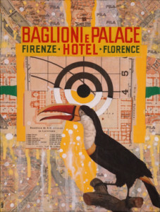 "Baglioni e Palace, Jayme Barr-Nobles, Collage on Canvas, 12"" x 9"""
