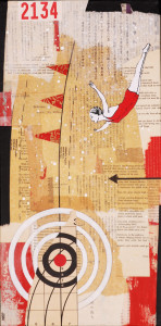 """Swan Dive, Jayme Barr-Nobles, Collage on Canvas, 20"""" x 10"""""""