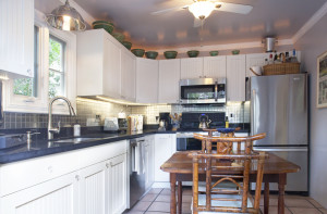 The custom kitchen is gorgeous.