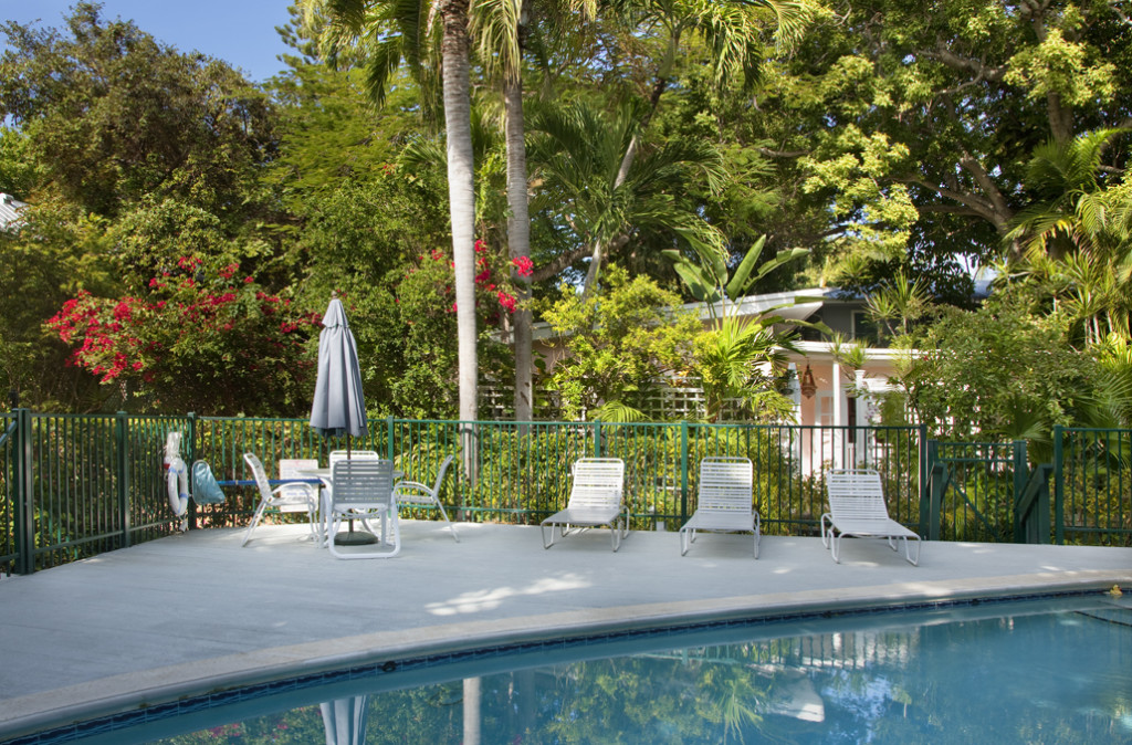 The lushly landscaped grounds and community pool are beautiful.