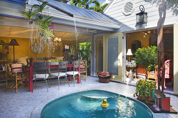 We love the bamboo waterfall cascading into the pool!