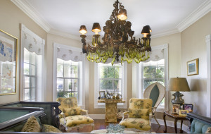 We love the double parlors opening to the wraparound porch.