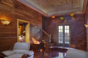 Dade County pine walls shine throughout the home.
